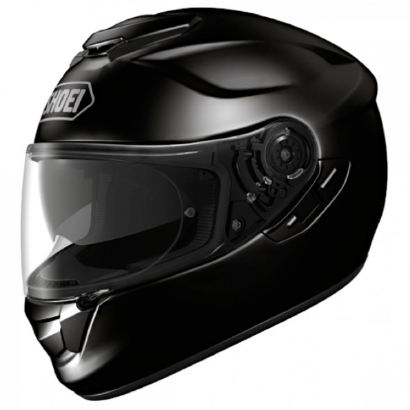 Casque de moto GT-Air de chez Shoei en Plain Black - Vue de profil
