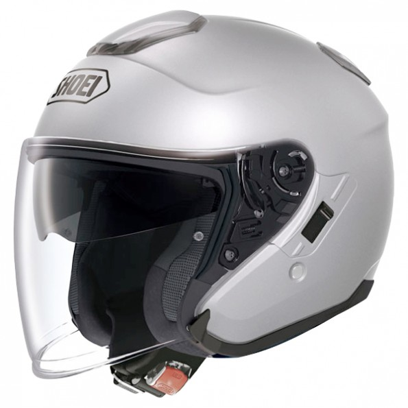 Casque de moto J-Cruise Metal de chez Shoei en Light Silver - Vue de profil