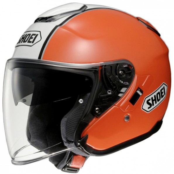 Casque de Moto Jet J-Cruise Corso TC-8 de chez Shoei en Orange White - Vue de profil
