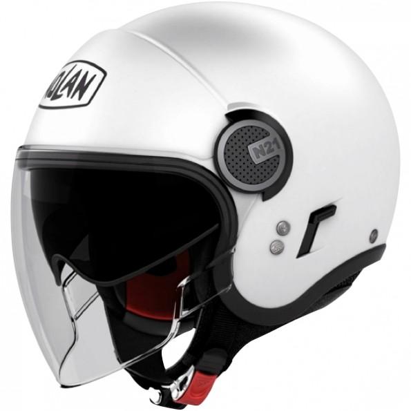 Casque de moto et de scooter N21 Visor Classic de chez Nolan en Metal White Blanc - Vue de profil