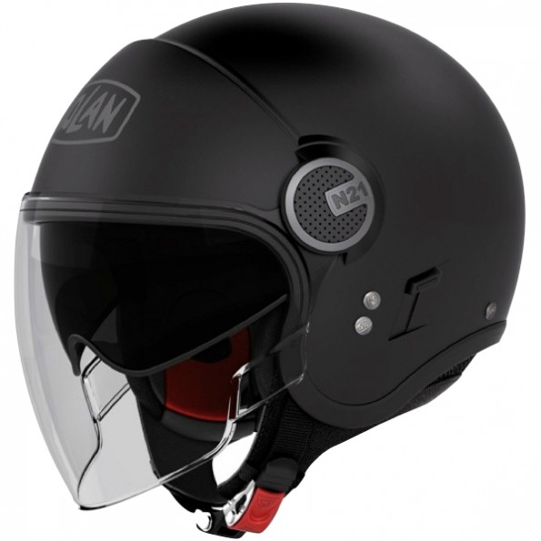 Casque de moto et de scooter N21 Visor Classic de chez Nolan en Flat Black Mat - Vue de profil
