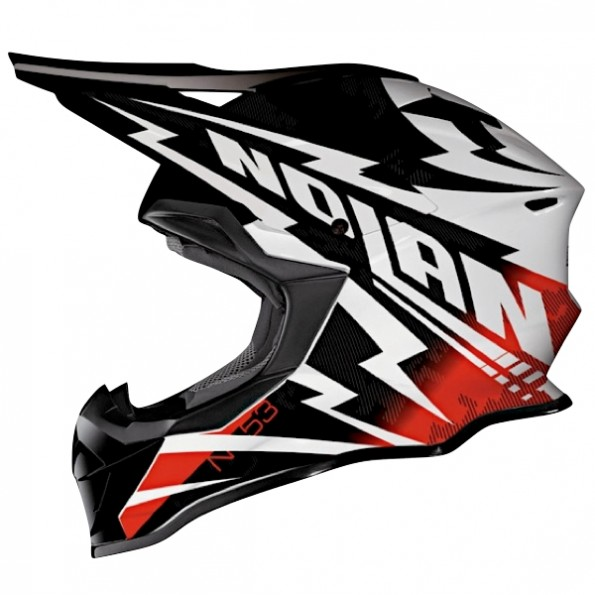 Casque de Moto Cross N53 Comp de chez Nolan en Metal White Red - Vue de profil