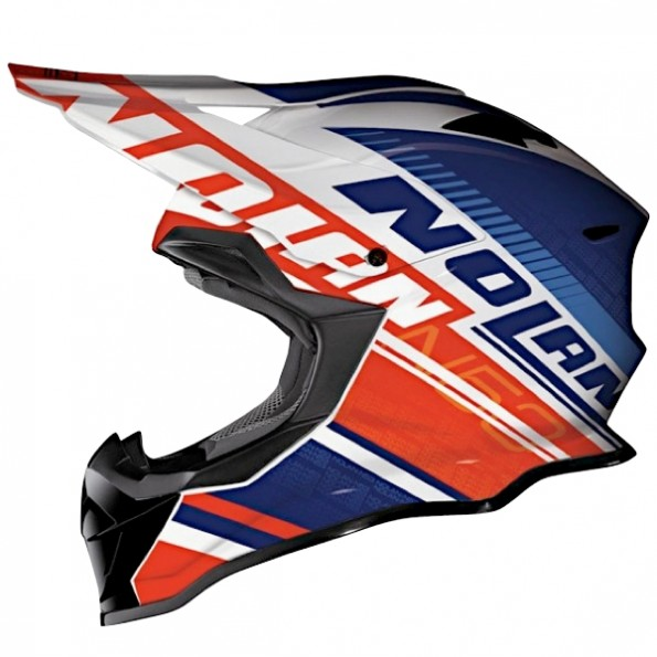 Casque de Moto Cross N53 Flaxy de chez Nolan en Metal White Red - Vue de profil