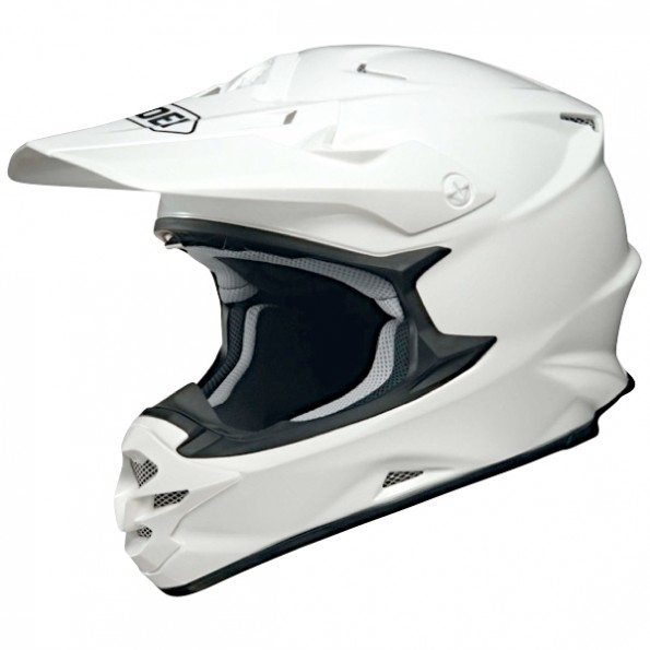Casque de moto Cross VFX-W de chez Shoei en Plain White - Vue de profil