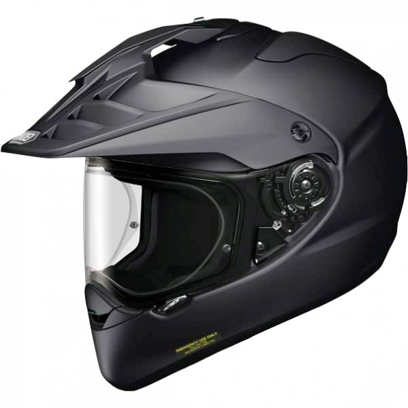 Casque de moto Cross et Enduro Horned ADV Matt de chez Shoei en Black Noir - Vue de profil