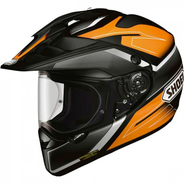 Casque de moto Cross et Enduro Horned ADV Graphic de chez Shoei en Seeker TC-8 Black Orange - Vue de profil