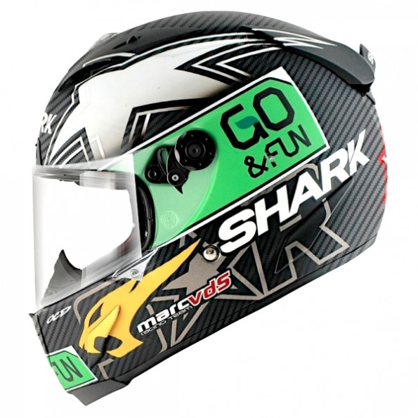 Casque de moto Race-R Pro Carbon Redding Dual Touch de chez Shark Carbon Green Yellow DGY - Vue de profil