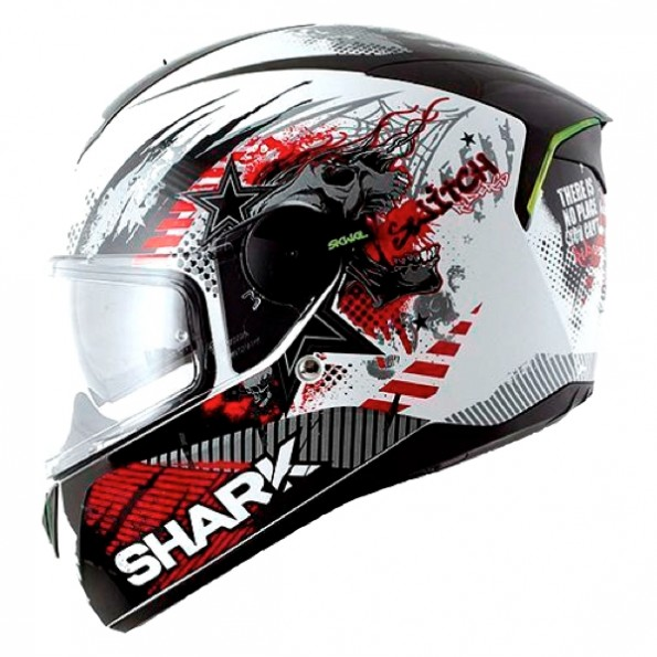Casque de moto Skwal Switch Riders de chez Shark en White Black Red WKR - de profil gauche