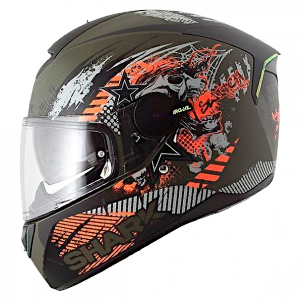 Casque de moto Skwal Switch Riders Mat de chez Shark en Green Anthracite Orange GAO - de profil gauche