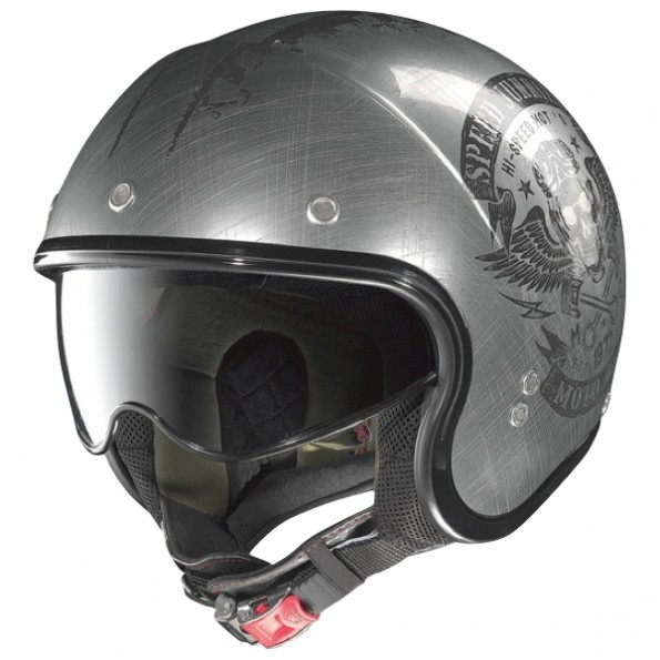 Casque de moto et de scooter N21 Speed Junkies de chez Nolan en Scratched Chrome - Vue de profil