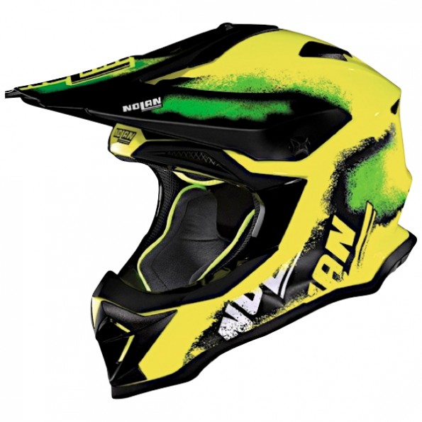 Casque de Moto Cross N53 Lazy Boy de chez Nolan en Led Yellow - Vue de profil