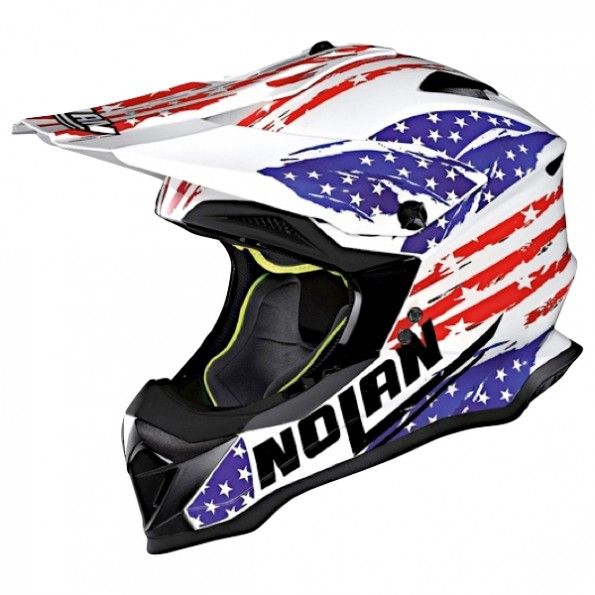 Casque de Moto Cross N53 Rodeo Air de chez Nolan en Metal White - Vue de profil