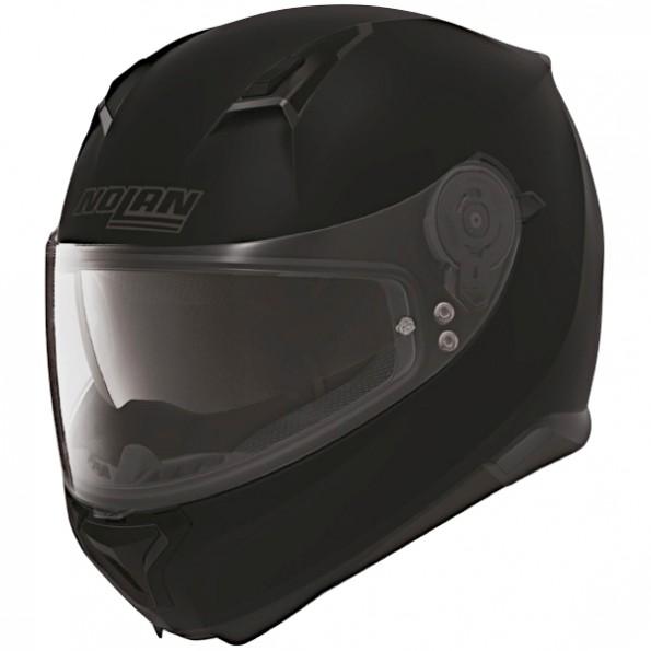 Casque de moto N87 Classic N-Com de chez Nolan en Flat Black - Vue de profil