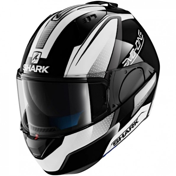 Casque de moto modulable Evo-One Astor de chez Shark en Black White Anthracite KWA - Vue de profil