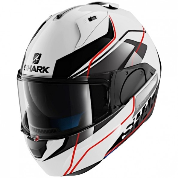 Casque de moto modulable Evo-One Krono de chez Shark en White Black Red WKR - Vue de profil