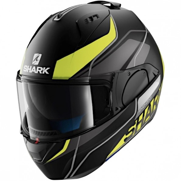 Casque de moto modulable Evo-One Krono Mat de chez Shark en Black Yellow White KYW - Vue de profil