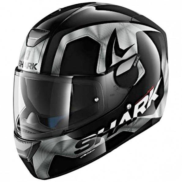 Casque de moto Skwal Trion de chez Shark en Black Chrome Anthracite KUA - de profil