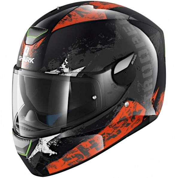 Casque de moto Skwal Trooper de chez Shark en Black Orange White KOW - de profil