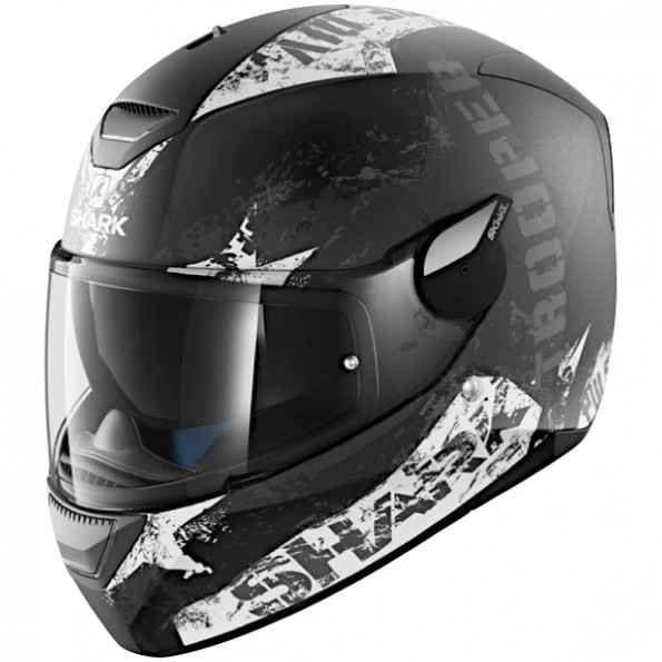 Casque de moto Skwal Trooper Mat de chez Shark en Black Anthracite White KAW - de profil