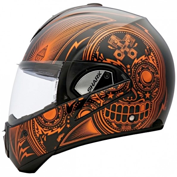 Casque de moto Evoline Serie 3 Mezcal Chrome de chez Shark en Chrome Black Orange KUO - Vue de profil