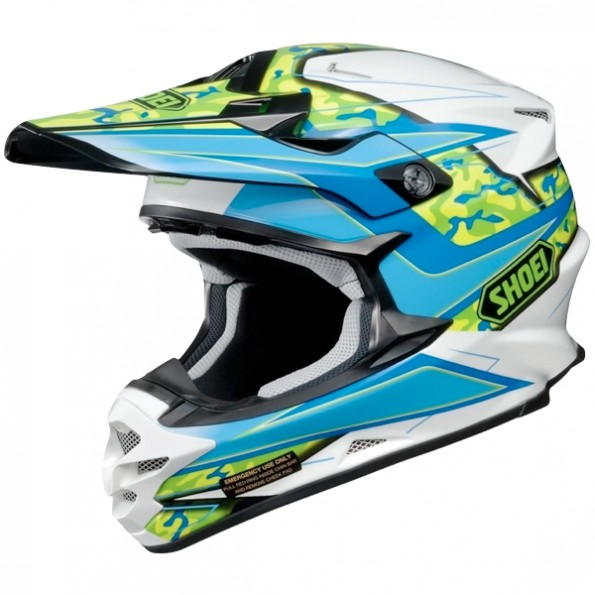 Casque de moto Cross VFX-W Turmoil de chez Shoei en Blue Green TC-2 - Vue de profil