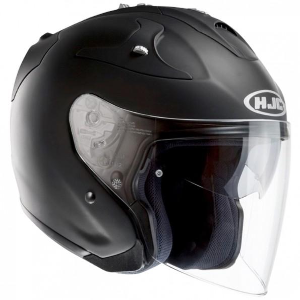 Casque de Moto et Scooter FG-JET Rubbertone de chez HJC en Mat Black - vue de profil
