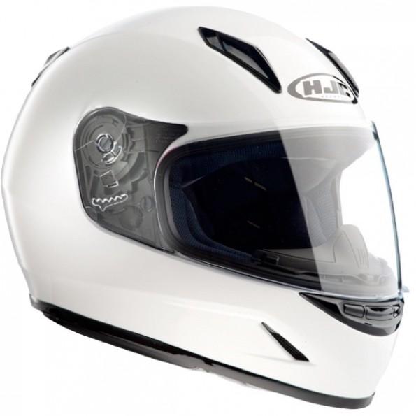 Casque intégral enfant de moto et de scooter CL-Y Solid de chez HJC en White Blanc - de profil