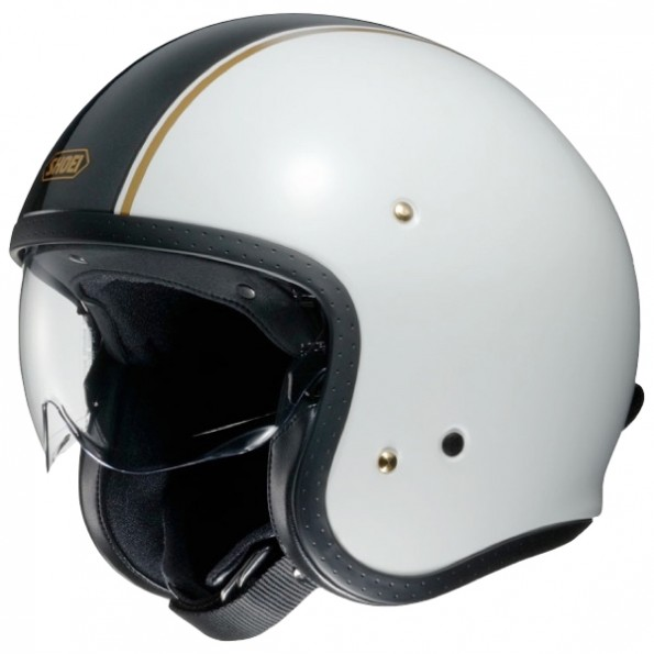 Casque jet de moto et scooter J.O Carburettor de chez Shoei en White Grey TC-6 - Vue de profil