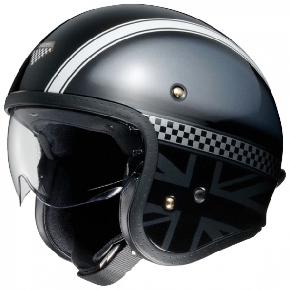 Casque jet de moto et scooter J.O Hawker de chez Shoei en Black Grey TC-5 - Vue de profil