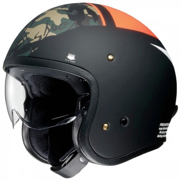 Casque jet de moto et scooter J.O Seafire de chez Shoei en Orange Black Camo TC-8 - Vue de profil