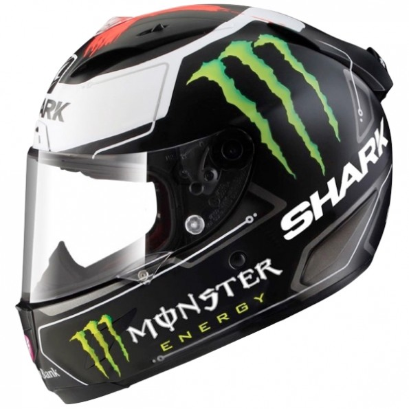 Casque Intégral de moto Race-R Pro Lorenzo Monster Mat de chez Shark en Black White Red KWR - Vue de profil