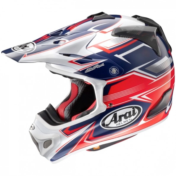 Casque de moto Cross MX-V Sly de chez Arai en Red - Vue de profil