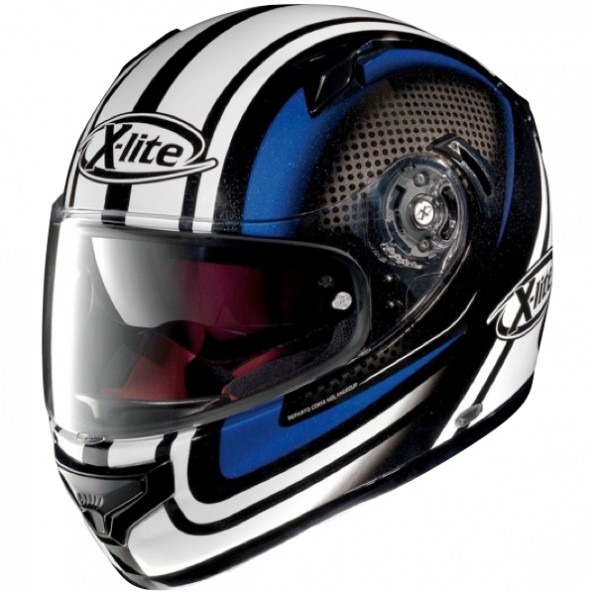 Casque de moto X-661 Slipstream N-Com de chez X-lite en Metal Black Blue - Vue de profil