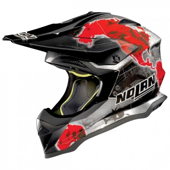 Casque de Moto Cross N53 Practice Replica Checa de chez Nolan en Scratched Chrome - Vue de profil