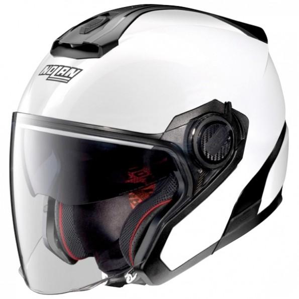 casque de scooter et moto N40.5 Special N-Com de chez Nolan en Pure White - Vue de profil