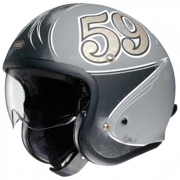 Casque jet de moto et scooter J.O Gratte-Ciel de chez Shoei en Grey Black TC-10 - Vue de profil