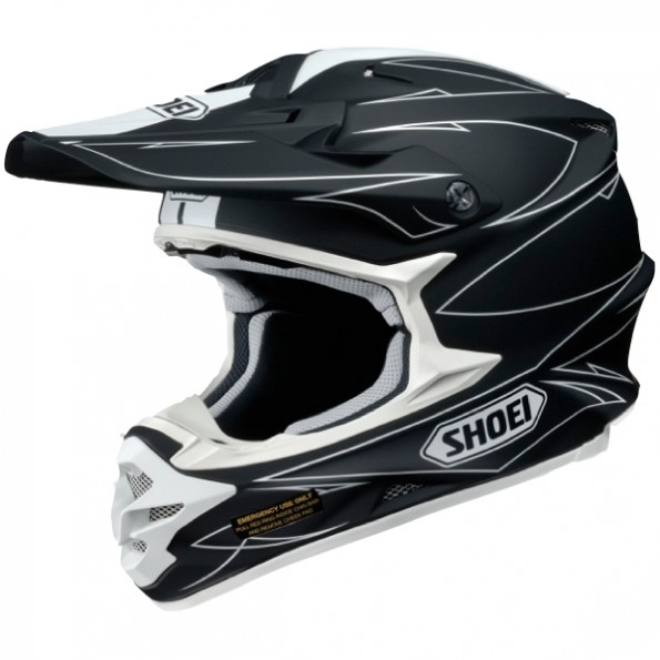 Casque de moto Cross VFX-W Hectic de chez Shoei en Black White TC-5 - Vue de profil