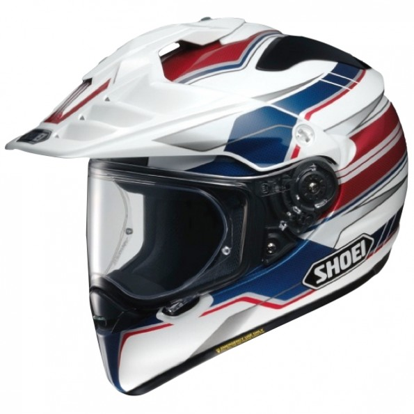 Casque de moto Cross et Enduro Hornet ADV Graphic de chez Shoei en Navigate TC-2 White Blue Red - Vue de profil