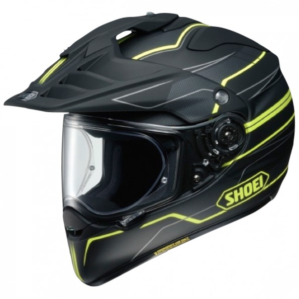 Casque de moto Cross et Enduro Hornet ADV Graphic de chez Shoei en Navigate TC-3 Black Yellow - Vue de profil