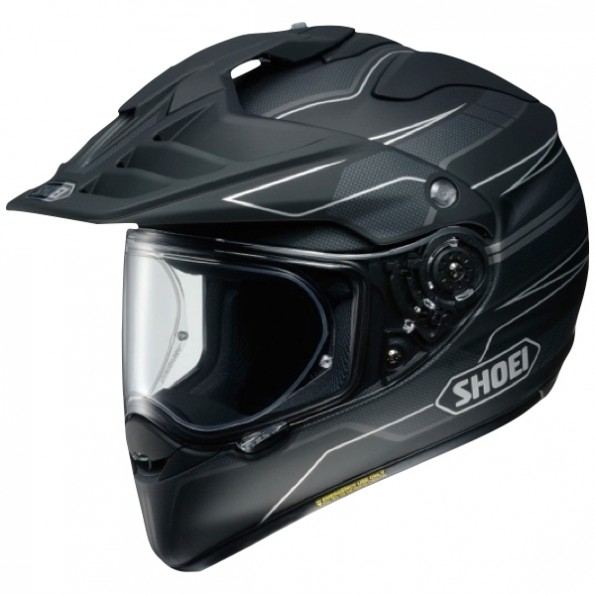 Casque de moto Cross et Enduro Hornet ADV Graphic de chez Shoei en Navigate TC-5 Black Grey - Vue de profil