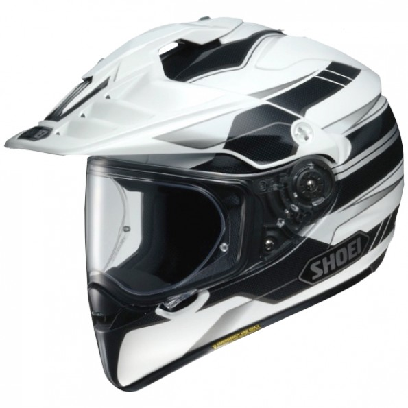 Casque de moto Cross et Enduro Hornet ADV Graphic de chez Shoei en Navigate TC-6 White Black - Vue de profil