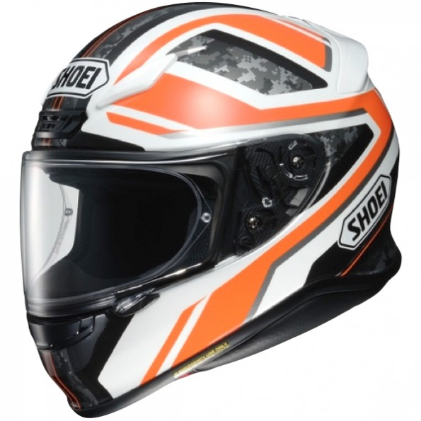 Casque de moto NXR Parameter de chez Shoei en TC-8 White Orange - de cote