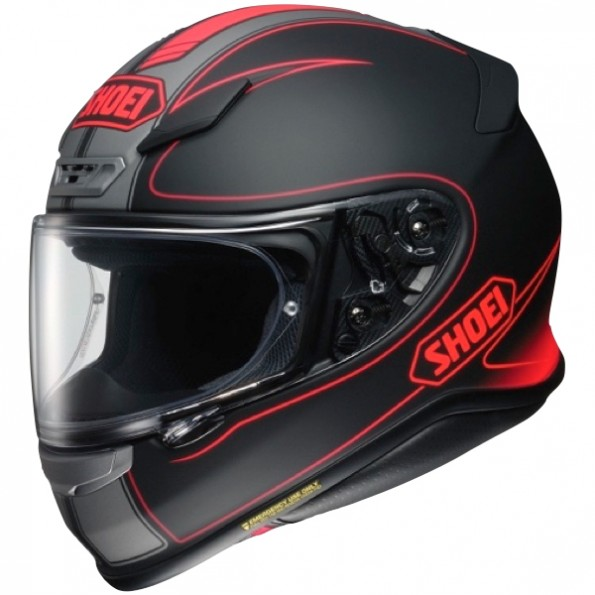 Casque de moto NXR Flagger TC-1 de chez Shoei en Black Red - Vue de profil