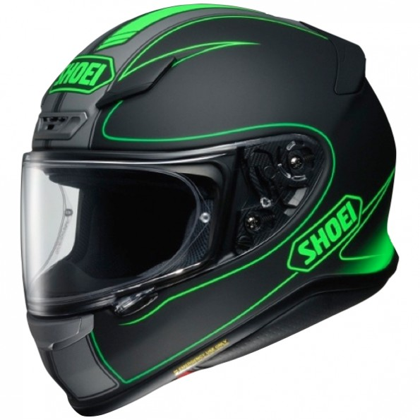 Casque de moto NXR Flagger TC-4 de chez Shoei en Black Green - Vue de profil