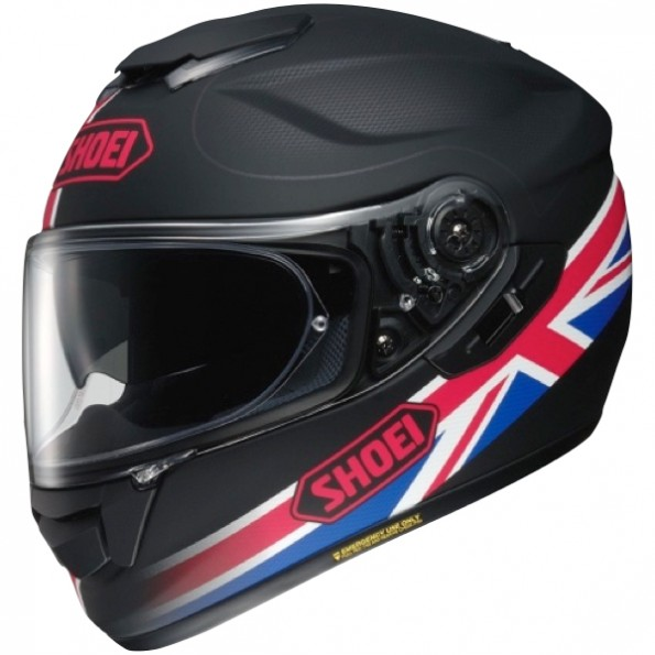 casque de moto GT-Air Royalty TC-1 de chez Shoei en Black Red Blue - Vue de profil