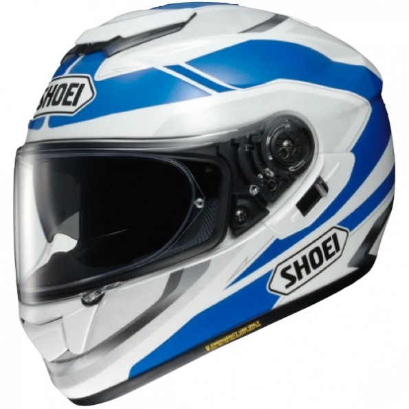 casque de moto GT-Air Swayer TC-2 de chez Shoei en White Blue - Vue de profil