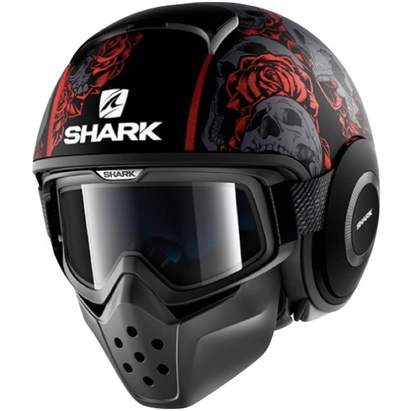 casque de moto et de scooter Drak Sanctus Mat de chez Shark en Black Red Anthracite KRA - Vue de profil