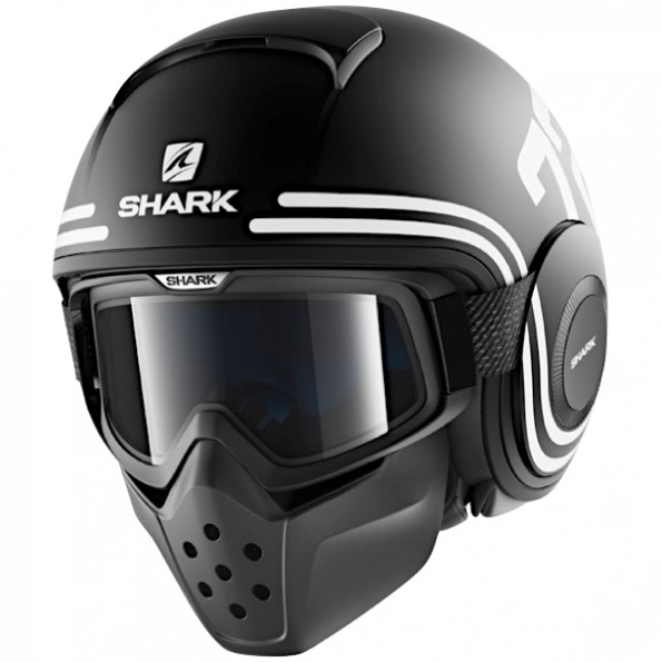 Casque de moto et de scooter Drak 72 Mat de chez Shark en Black White Orange KWO - Vue de profil
