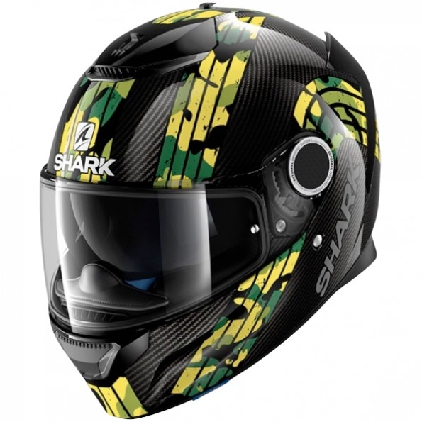 Casque de moto Spartan Carbon Mezmair de chez Shark en Carbon Yellow Green DYG - Vue de profil