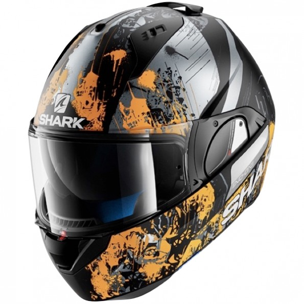 Casque de moto modulable Evo-One Falhout Mat de chez Shark en Black Orange Anthracite KOA - Vue de profil